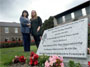 June O'Toole, left, and Karen Carolan at a headstone erected in memory of miscarried babies. Photograph: Brenda Fitzsimons
